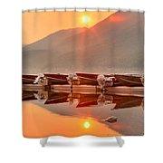 Lake Mcdonald Fiery Sunset Shower Curtain