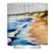 Lake Michigan Beach With Whitecaps Detail Shower Curtain