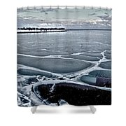 Lake Michigan Frozen Shower Curtain