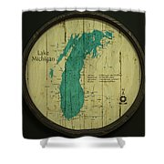 Lake Michigan Map Shower Curtain