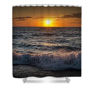 Lake Michigan Sunset With Crashing Shore Waves Shower Curtain