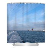 Lake Michigan Winter Shower Curtain