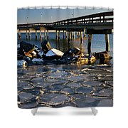 Lake Ontario Sunset At Toronto Center Island Pier In Winter With Shower Curtain