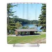 Lake Padden Picnic Shelter Shower Curtain