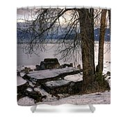Lake Pend D'oreille At Humbird Ruins 1 Shower Curtain