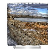 Lake Pend D'oreille At Humbird Ruins 2 Shower Curtain