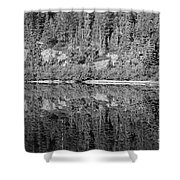 Lake Reflections In Black And White Shower Curtain