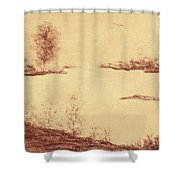 Lake Scene On Parchment Shower Curtain