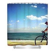 Lake Shore Bike, Blue Sky Water Horizon, Chicago Shower Curtain