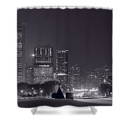 Lake Shore Drive Chicago B And W Shower Curtain