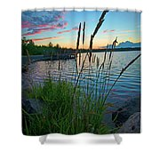 Lake Sunset And Sedge Grass Silhouettes, Pocono Mountains Shower Curtain