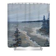 Lake Superior North Shore Waves  Shower Curtain