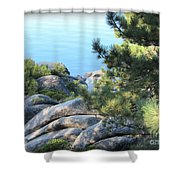 Lake Tahoe And Boulders Shower Curtain