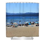 Lake Tahoe Beach Scene Shower Curtain