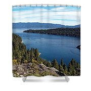 Lake Tahoe Emerald Bay Panorama Shower Curtain
