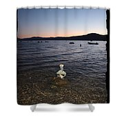 Lake Tahoe Sunset With Rocks And Black Framing Shower Curtain
