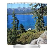 Lake Tahoe With Mountains Shower Curtain