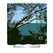 Lake Through The Trees Shower Curtain by Michelle Calkins