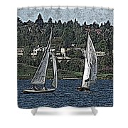 Lake Union Regatta Shower Curtain