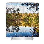 Lake Waterford Fall - Watercolor Fx Shower Curtain