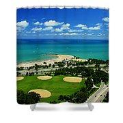 Lakefront Beach Park Baseball Fields Shower Curtain