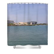 Lakefront On A Clear Day Shower Curtain
