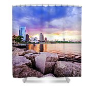 Lakefront Sunset On Rocks Shower Curtain