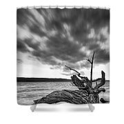 Lakeshore Winter Clouds Shower Curtain