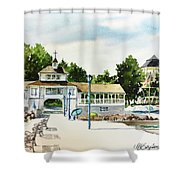 Lakeside Dock And Pavilion Shower Curtain