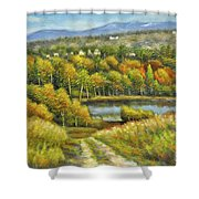 Lakeside Trail In Autumn Shower Curtain