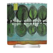 Lakeside Trees Shower Curtain