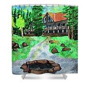 Lakewoods Lodge Shower Curtain