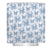 Lalabutterfly Blue Wedgewood Reverse Shower Curtain