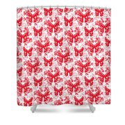 Lalabutterfly Red And White Shower Curtain