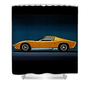 Lamborghini Miura 1966 Painting Shower Curtain