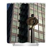 Lamp Post Against Green Glass Building Shower Curtain