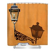 Lamp, Shadow And Burnt Umber Wall, Orvieto, Italy Shower Curtain
