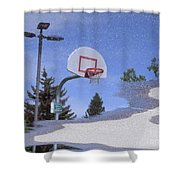 Lamppost 022 - Rainy Day Reflection Shower Curtain