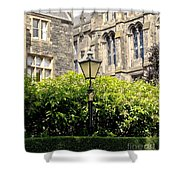 Lamppost In Front Of Green Bushes And Old Walls. Shower Curtain