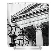 Lamppost With English Dragon Shower Curtain