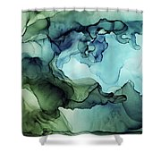 Land And Water Abstract Ink Painting Shower Curtain