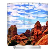 Land Of Moab - Watercolor Shower Curtain