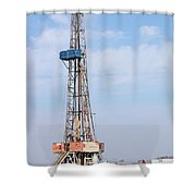 Land Oil Drilling Rig With Equipment On Oilfield Shower Curtain