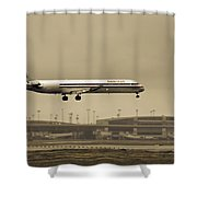 Landing At Dfw Airport Shower Curtain