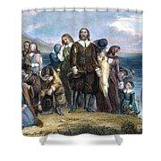 Landing Of Pilgrims, 1620 Shower Curtain by Granger