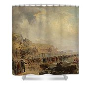 Landing The Shore End Of The Atlantic Cable Shower Curtain