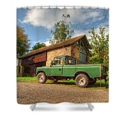 Landrover And The Barn Shower Curtain