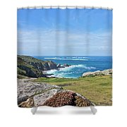 Land's End And Longships Lighthouse Cornwall Shower Curtain by Terri Waters