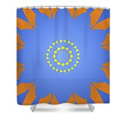 Landscape Abstract Blue, Orange And Yellow Star Shower Curtain