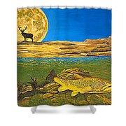 Landscape Art Fish Art Brown Trout Timing Bull Elk Full Moon Nature Contemporary Modern Decor Shower Curtain